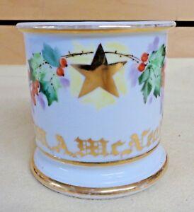 Vintage-M-A-McNeal-A-L-UNDELAND-Holly-amp-Star-SHAVING-MUG-Omaha-NE-TH1043