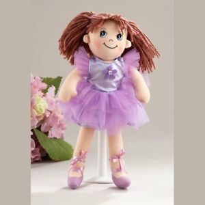 """Delton Products Ballerina Doll Soft Cloth Doll with Purple Removable Tutu, 14"""""""