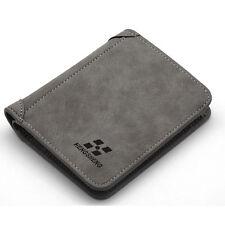 Mens PU Grey Credit Card Holder Wallets Bifold ID Cash Coin Purse Vertical Purse