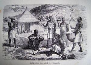 96-7 Gravure 1890 Habitation D'un Chef Ougandais