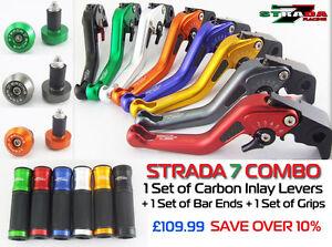 Strada 7 Racing CNC Handle Bar Ends Black For Yamaha YZF R6