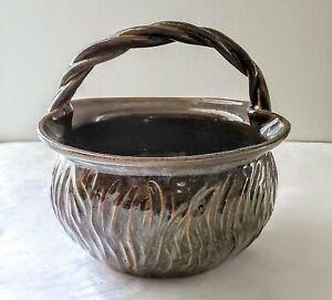 Carved-Basket-Bowl-Pottery-Glazed-Handled-Brown
