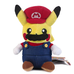 Pokemon-Center-Pikachu-Plushie-Super-Mario-Plush-Doll-Figure-Toy-9-inch-US-Ship