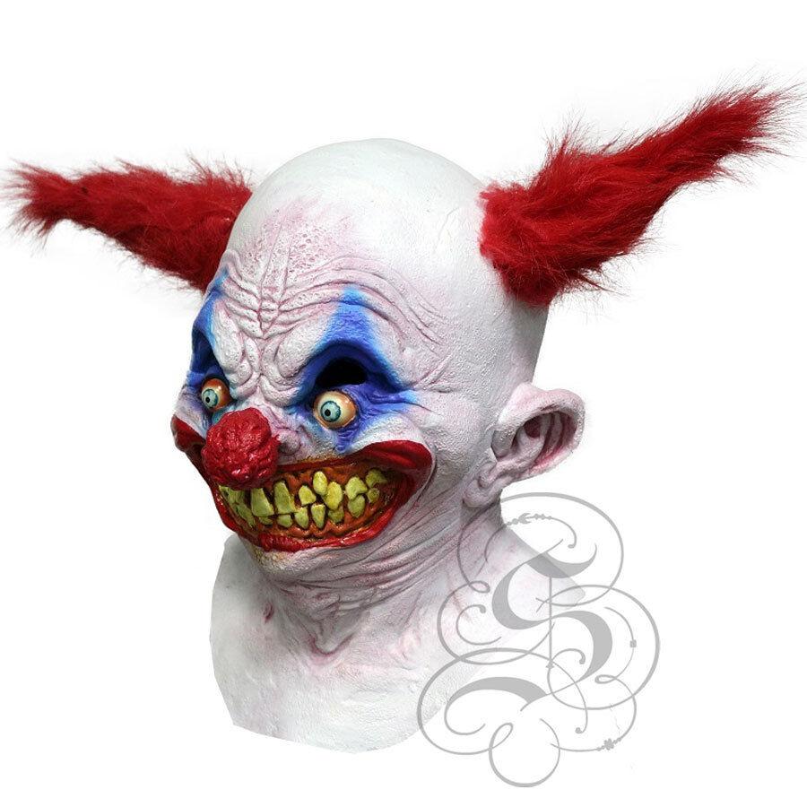 Carver Clown Adult Mask with Red Hair Creepy Latex Joker Halloween