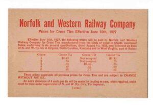 Details about 1927 NORFOLK & WESTERN N&W RAILROAD RR CROSS TIE RAILWAY  PRICE CARD