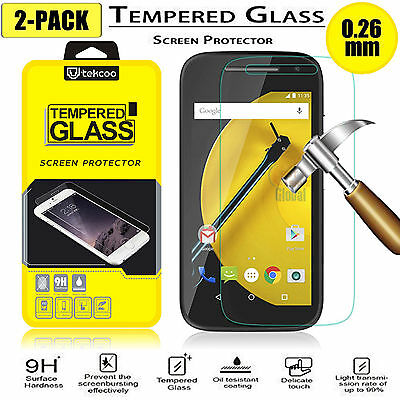 2-Pack Premium Tempered Glass Film Screen Protector For Motorola Moto E 2nd Gen