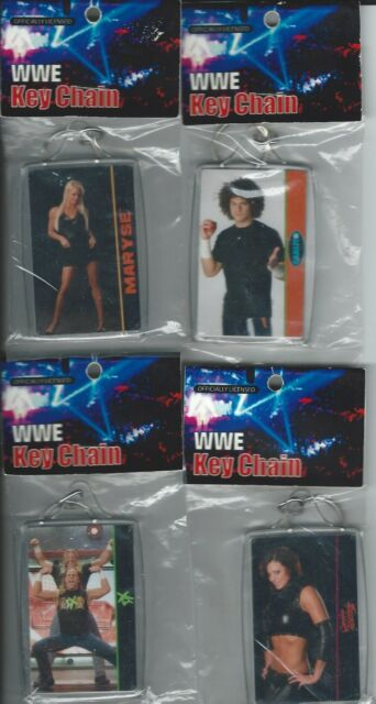 WWE 4 Assorted Key Chains DX, Carlito,Candice and Maryse New Licensed