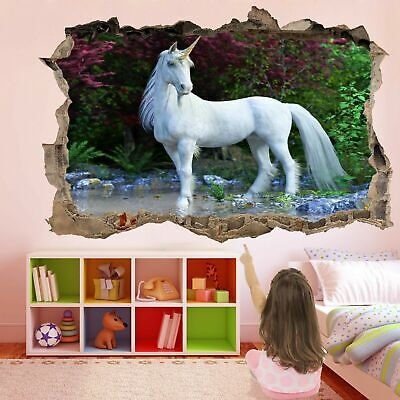 Foresta Incantata Unicorno 3d Wall Art Sticker Decal Poster Bambine Stanza Gv23- Qualità E Quantità Assicurate