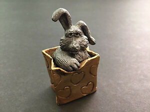 Ricker-Pewter-Bunny-Rabbit-Gift-Bag-2-Pieces-Figurine-Paperweight-2-034-T-Unusual