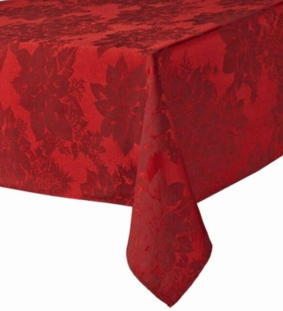 Christmas Red Poinsettia Tablecloth, Damask Fabric Table Cloth 60x102 Ob  For Sale Online