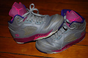 info for f4326 3560c Details about Nike Air Jordan Retro 5 V Gray Pink Foil Raspberry Sneakers  (12C) 440893-009