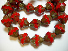 15 11x10mm Czech Glass Red Opal Picasso Baroque  Bicone Beads