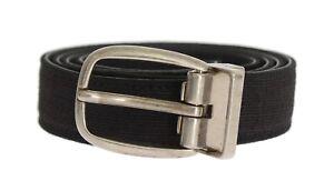 3b0173ae7c NEW $380 DOLCE & GABBANA Belt Black Linen Leather Mens Waist s. 90cm ...