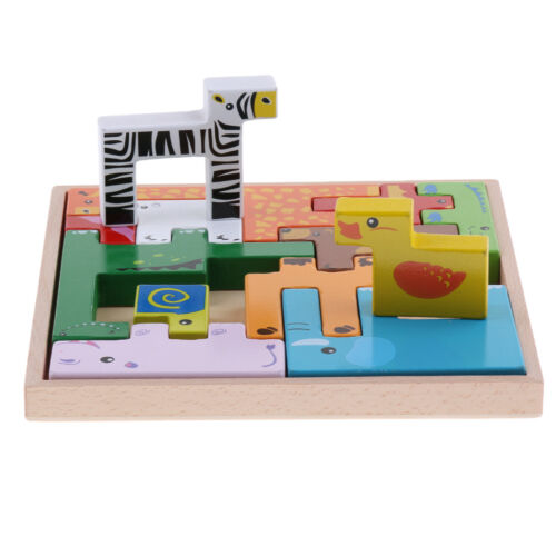 Wooden Jigsaw Puzzle Board Wild Safari Animals Wooden Block Kids Educational