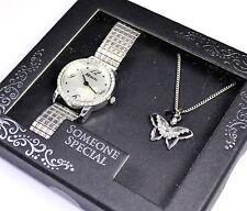 Ravel señoras expansión Reloj y la mariposa colgante collar Alguien Especial Regalo