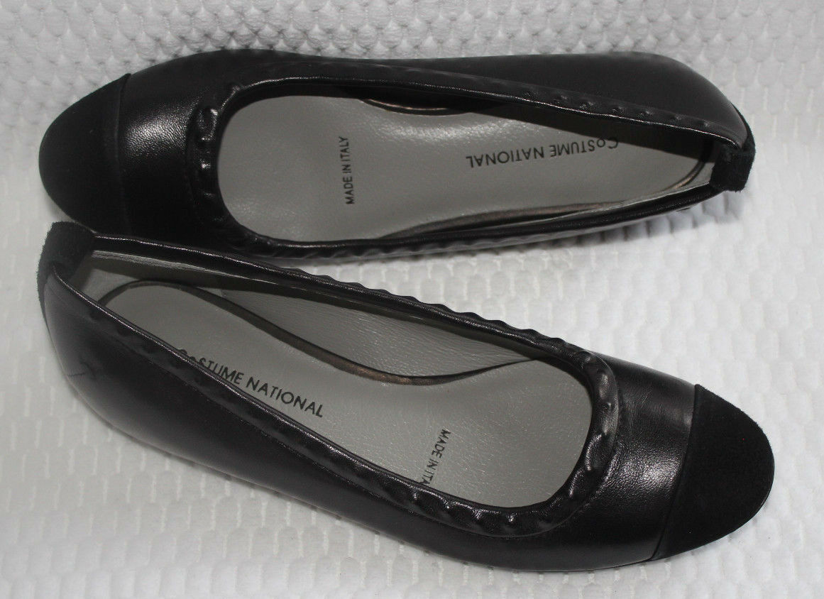 COSTUME NATIONAL  1115631 BLACK LEATHER FLATS  NATIONAL $454 12b997