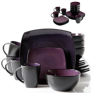 Image is loading Purple-Dinnerware-Set-Dining-Plates-Dishes-Bowls-Mugs-  sc 1 st  eBay & Purple Dinnerware Set Dining Plates Dishes Bowls Mugs Black 16 Piece ...