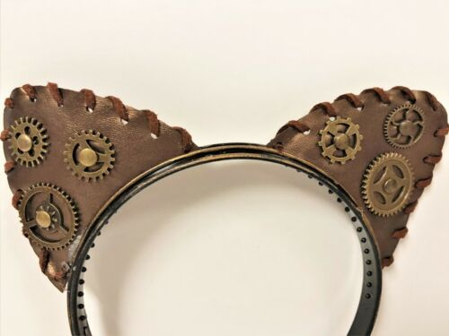Cat Ears Victorian Steampunk  Gear Adult Costume Headband One Size Cosplay EMO