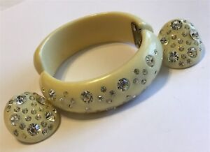 Weiss Black Rhinestone Clamper Bracelet /& Earrings Unsigned