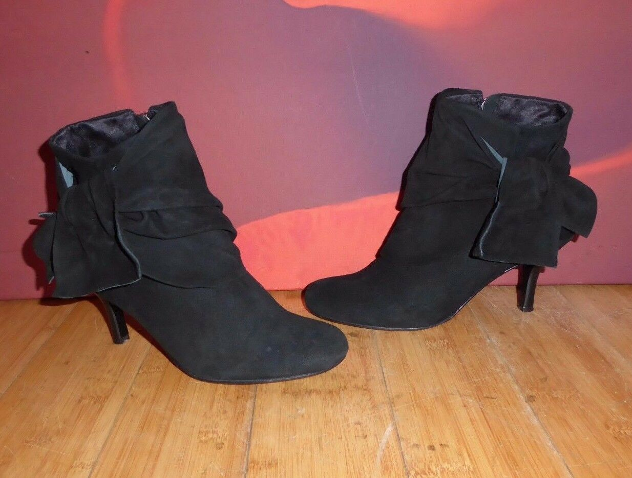 *39* FAITH  BLACK LEATHER ANKLE HEEL  BOOTS EU 37 UK 4
