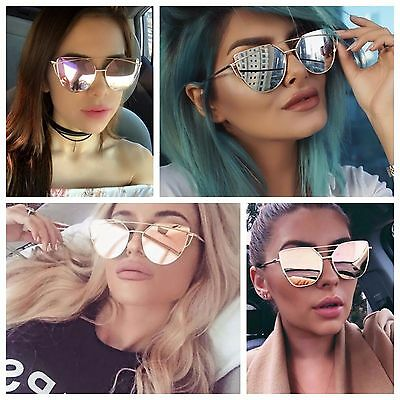 Women/'s Mirrored Lenses Designer Inspired Retro Vintage OVERSIZE SUNGLASSES UK