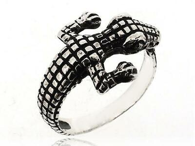 Women Antique Crocodile Animal Jewelry 925 Sterling Silver
