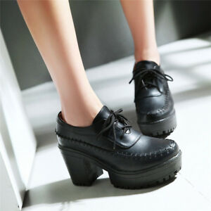 Women-039-s-Casual-Block-High-Heels-Round-Toe-Platform-Lace-up-High-Top-Shoes-Size