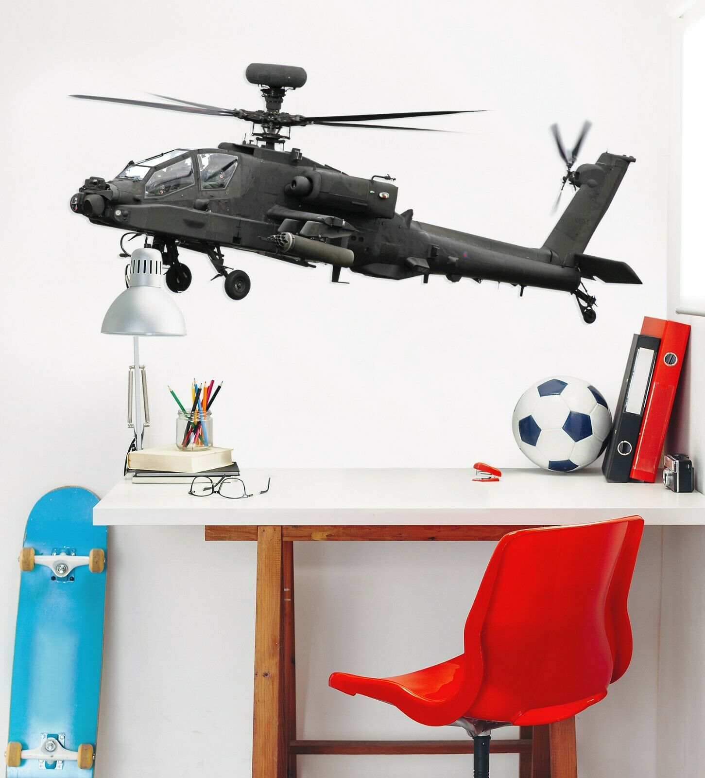 3D grau Helicopter A79 Car Wallpaper Mural Poster Transport Wall Stickers Zoe