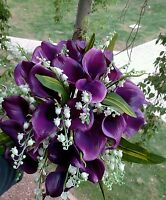 2pc Purple Calla Lilly Lily Of The Valley Wedding Bouquet Bridal Silk Flowers