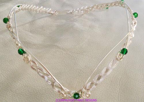 GWEN SILVER /& EMERALD GREEN CELTIC FANTASY CIRCLET ADJUSTABLE LARP REN MERLIN