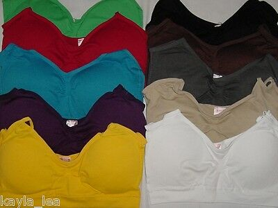Seamless Stretch Cropped Cami Top Removable Pads/Adjustable Strap *10 Colors* OS
