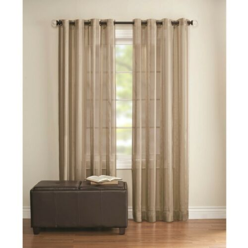 Better Homes /& Gardens Sets Of Two Stripe Grommet Sheer Clay Panels 52 x 84 Each