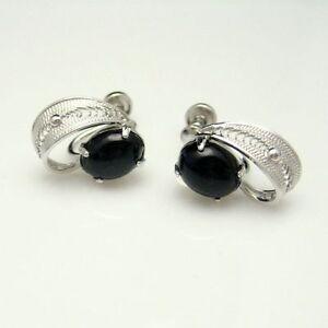 SORRENTO-STERLING-Uncas-Vintage-Filigree-Earrings-Oval-Onyx-Stones