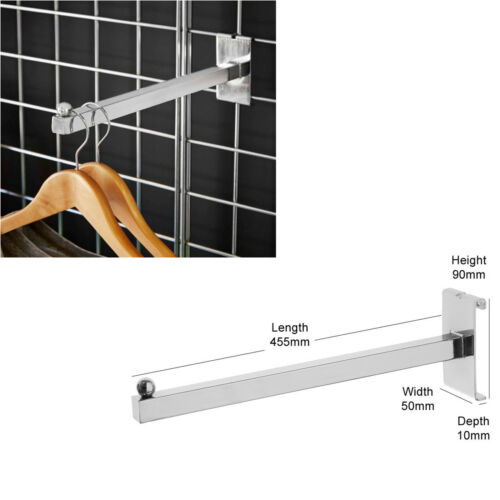 """Straight Arm Square With A Ball 12/"""",Gridwall// Grid Wall Mesh Chrome Accessory"""