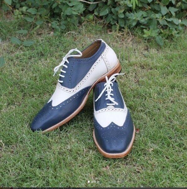 Handmade Uomo two tone Scarpe, Uomo white and navy spectator shoe, wingtip Scarpe