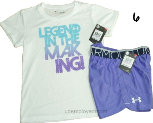 Under Armour Tee Shorts Girls Athletic Sports Set Outfit Youth Top Bottoms Shirt