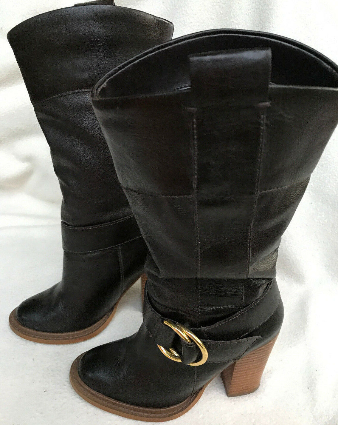 Colin Stuart Dark Brown Leather Buckle Mid-Calf Pull-On Shoes Boots Women's 5 M