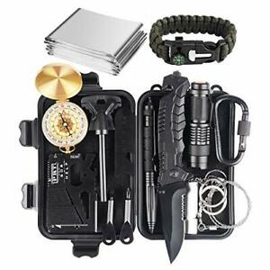 Survival Kit Emergency Tools Military Camping 15 in 1, Upgraded Tactical Defense