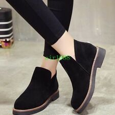 Womens Casual Cuban Heel Faux Suede Pull On Platform Pumps Ankle Boot Shoes Chic