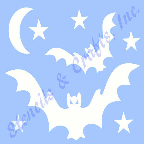 BAT STENCIL STAR MOON TEMPLATE STENCILS STARS SCRAPBOOK PAINT CRAFT ART NEW