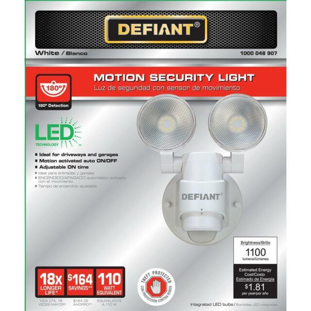 White LED Motion Sensor Outdoor Security Flood Spot Light 180 Degree 2-Head