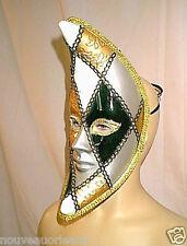Crescent Moon Shape Venetian Harlequin Carnival Face Mask Metallic Silver Gold