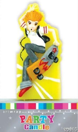 3D Teen Skater Candle...Birthday Party Cake Topper...
