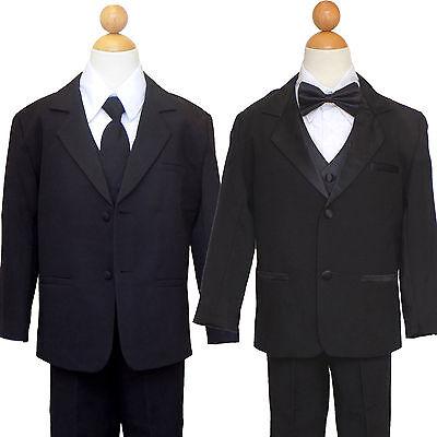 Boys Teens Ring Bearer Recital,Graduation Black//White Suit Bow Tie All size