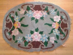 Antique Small Oval Hooked Rug Grey Burgundy Green Scrap Craft