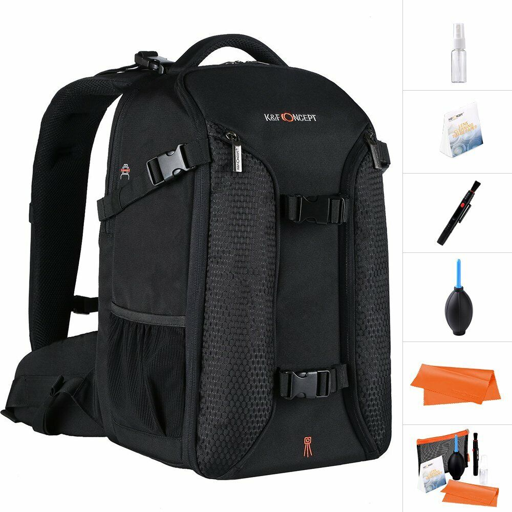 K&F Concept large SLR camera backpack anti-theft with rain cover for lens tripod