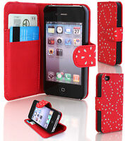 Diamond Bling Leather Wallet Flip Case Cover for Apple iPhone 4,4s,5,5s,5c,6