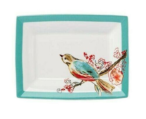 Lenox Chirp Soap Dish Bird Floral Design Turquoise White NEW