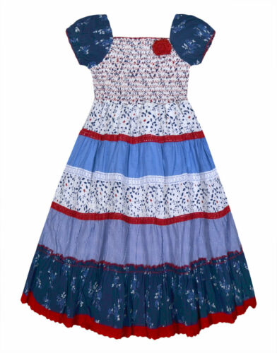 Girls Floral Dress 100/% Cotton Lace Trim Gypsy Summer Dresses Age 3-11 Years