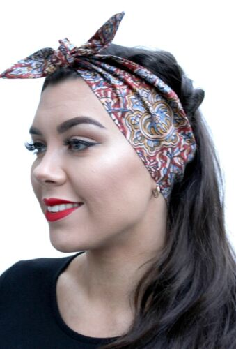 Moroccan Print Brown Boho Fabric 50s Style Pin Up Bow Head Scarf Bandana